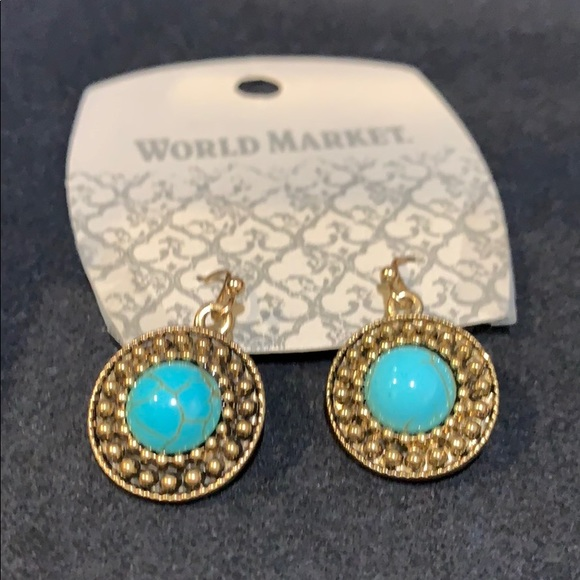 85a3e8e5bcedd Cost Plus World Market Jewelry | Nwt Gold And Turquoise Round ...